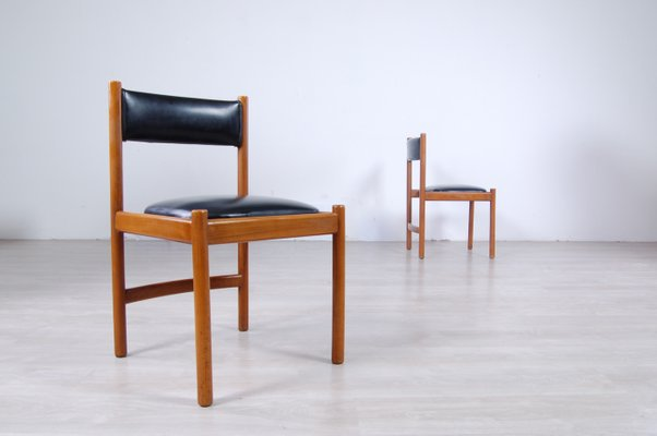 Italian Modern Leather And Wood Dining Chairs From Isa 1960s Set Of 2 For Sale At Pamono