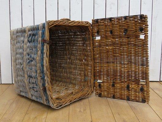 Vintage English Wicker Laundry Basket 1930s