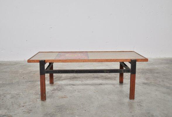 Mid Century Italian Afrormosia Iron Colored Resin Coffee Table 1950s