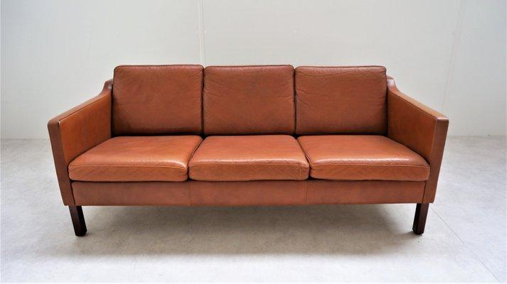 Vintage Scandinavian Tan Leather Sofa