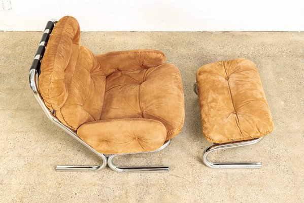 Groovy Mid Century Chrome Suede Lounge Chair With Ottoman By Milo Baughman For Directional 1970S Alphanode Cool Chair Designs And Ideas Alphanodeonline