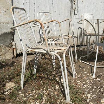 Sedie In Ferro Battuto Da Giardino.Tavolo Da Giardino In Ferro Battuto Con Quattro Sedie Anni 60