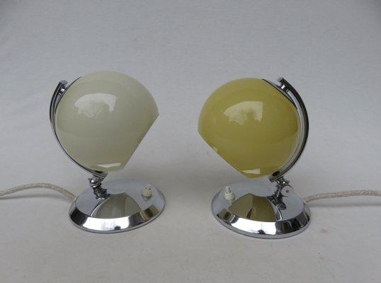 Art Déco Tischlampen Aus Messing Mundgeblasenem Glas 1930er 2er Set