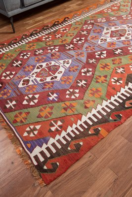 Multi Colored Wool Anatolian Kilim Rug