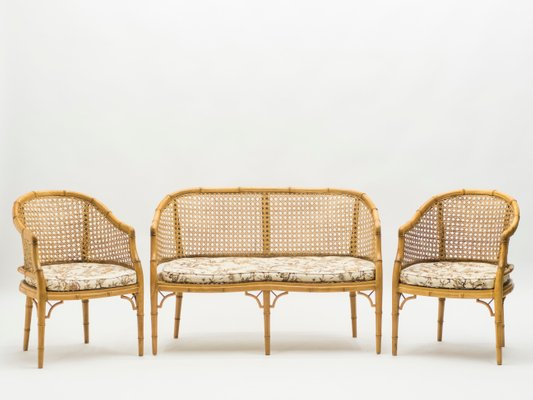 Mid-Century French Bamboo Living Room Set, 1960s
