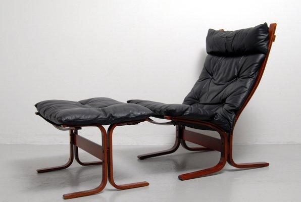 Astonishing Vintage Siesta High Back Sling Lounge Chair And Ottoman Set By Ingmar Relling For Westnofa Spiritservingveterans Wood Chair Design Ideas Spiritservingveteransorg