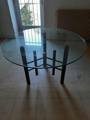 Tavolo da pranzo vintage in vetro
