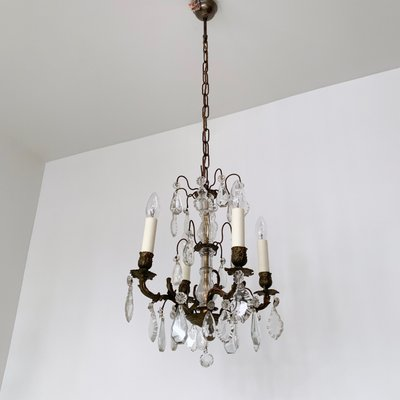 size 40 5a84d 8d2ed Small French Brass and Crystal Chandelier, 1900s