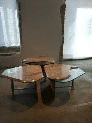 Tavolini Di Vetro Design.Tavolini Ad Incastro In Marmo E Vetro Anni 70 Set Di 3 In