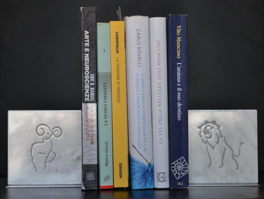 White Marble & Steel Zodiac Sign Bookends, 2019, Set of 2