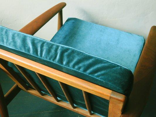 Tremendous Mid Century Danish Turquoise Velvet Lounge Chair 1960S Machost Co Dining Chair Design Ideas Machostcouk