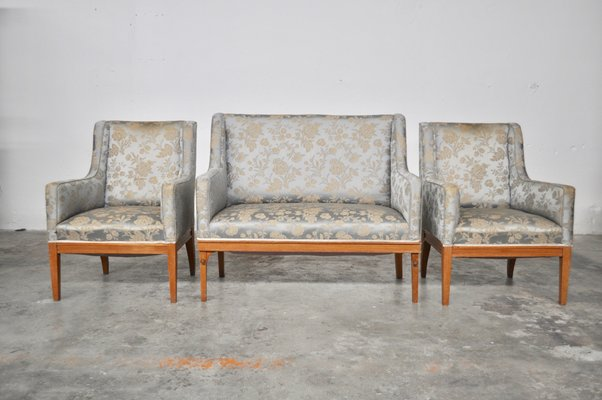 Vintage Ash Sofa Chairs Set 1930s