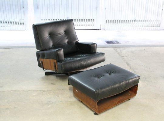 Italian Leather Swivel Lounge Chair