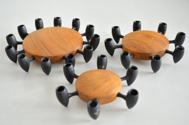 Teak Cast Iron Candle Holder By Jens Quistgaard For Dansk Design 1960s