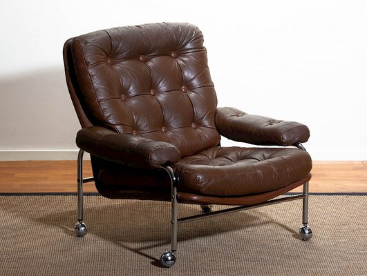 Astounding Chrome Leather Lounge Chair From Scapa Rydaholm 1970S Theyellowbook Wood Chair Design Ideas Theyellowbookinfo