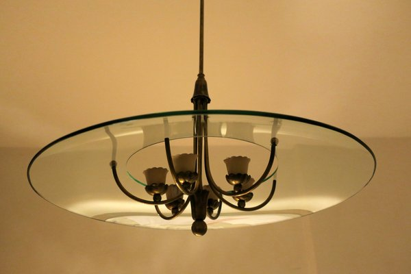 Italian Brass And Glass Chandelier By Luigi Brusotti, 1940s