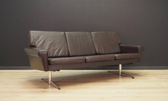Vintage Scandinavian Leather Sofa, 1970s