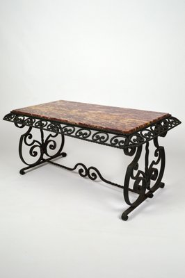 Art Deco Style Wrought Iron Coffee Table With Marble Top By Gilbert Poillerat 1940s