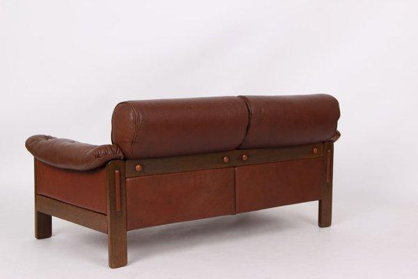 Danish Oak & Brown Leather Sofa, 1960s