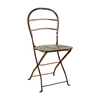 Antique Wrought Iron Steel Folding Chairs Set Of 6