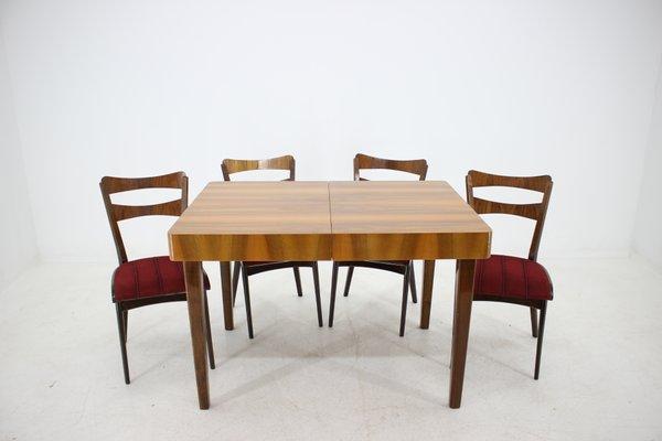 Tavolo da pranzo con quattro sedie, Cecoslovacchia, anni \'50