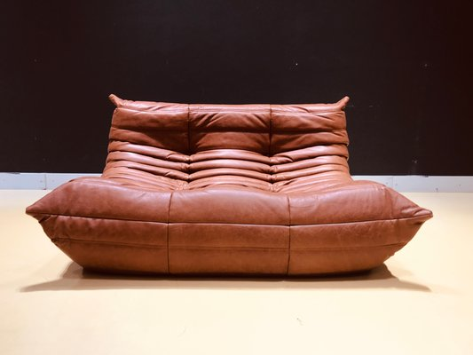 Wondrous Mid Century Cognac Leather Togo Loveseat By Michel Ducaroy For Ligne Roset 1970S Machost Co Dining Chair Design Ideas Machostcouk