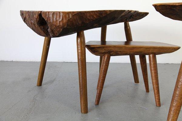 Tables D Appoint En Tronc D Arbre 1960s Set De 4