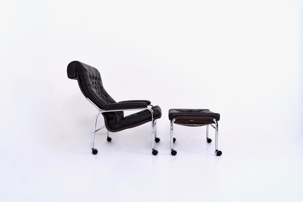 Remarkable Bore Leather Chrome Lounge Chair Footstool Set By Noboru Nakamura For Ikea 1970S Pabps2019 Chair Design Images Pabps2019Com