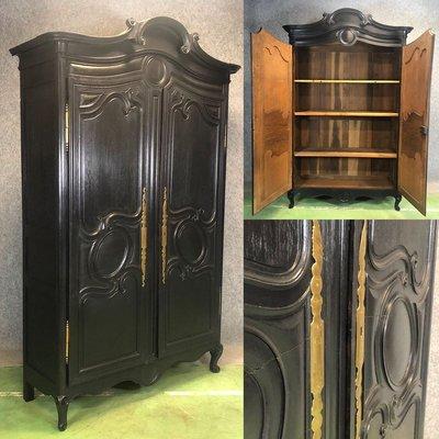 Antique Black Oak Wedding Armoire