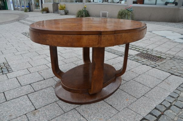 Oval Art Deco French Burl Wood Dining Table, 1930s