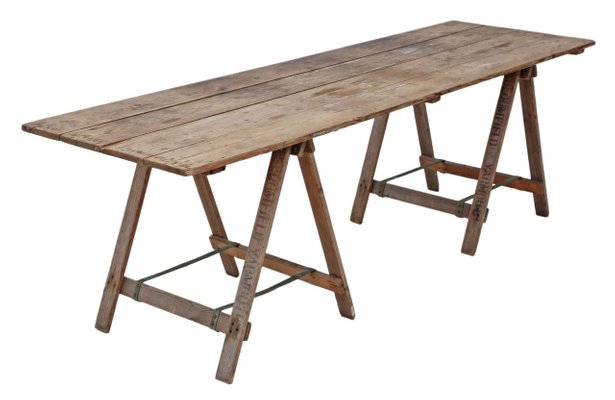 Antique Style Trestle Dining Table