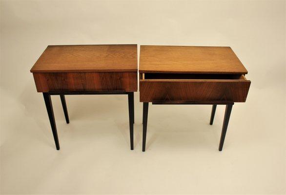 Vintage Wooden Bedside Tables By Jindřich Halabala For UP Závody, 1950s,  Set Of 2