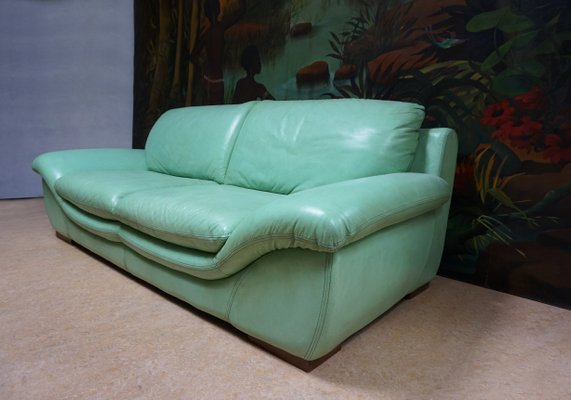 Vintage Mint Green Leather Sofas, Set of 2