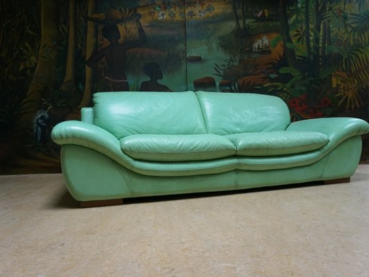 Vintage Mint Green Leather Sofas Set