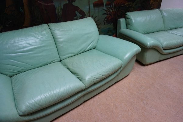 Vintage Mint Green Leather Sofas Set