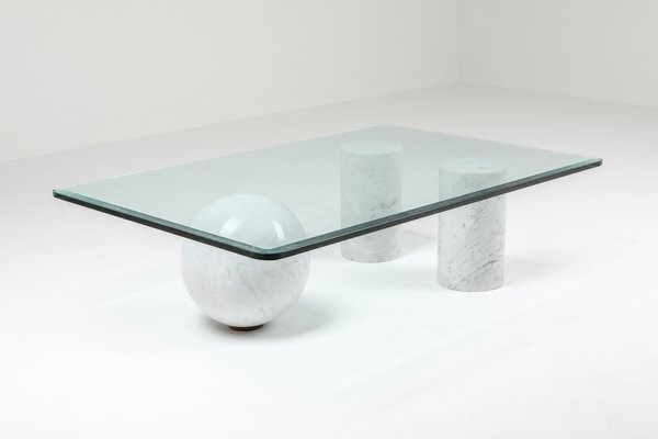 Italian White Marble Coffee Table By