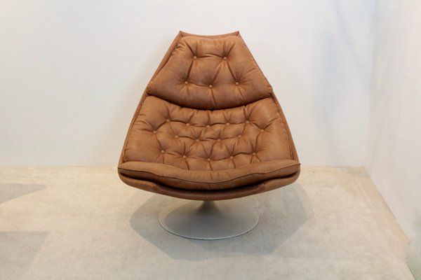 Awe Inspiring Cognac Leather F588 Swivel Lounge Chair By Geoffrey Harcourt For Artifort 1960S Creativecarmelina Interior Chair Design Creativecarmelinacom