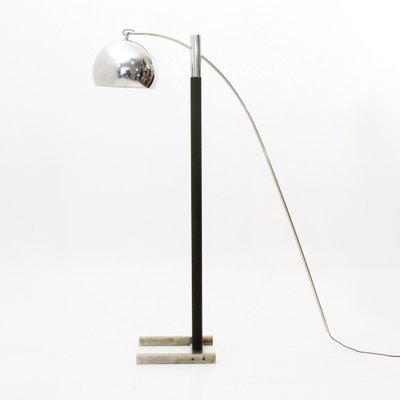 Black And Chrome Floor Lamp 1970s For