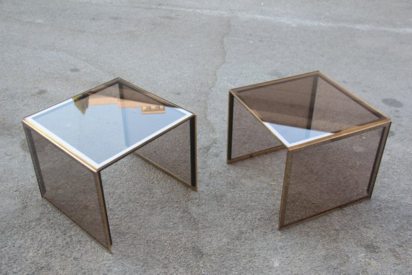 Outstanding Mirrored Glass And Golden Brass Stackable Coffee Tables From Zevi 1970S Set Of 2 Inzonedesignstudio Interior Chair Design Inzonedesignstudiocom