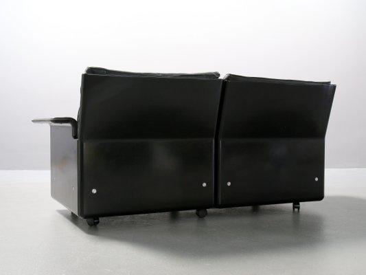 Superb Vintage 620 Black Leather Modular 2 Seater Sofa By Dieter Rams For Vitsoe Machost Co Dining Chair Design Ideas Machostcouk