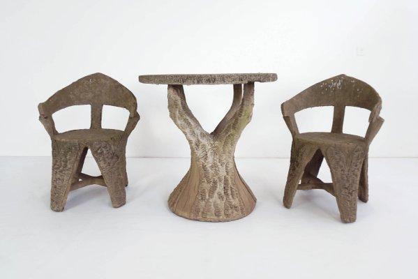 Vintage Set mit Gartentisch & 2 Stühlen, 1920er