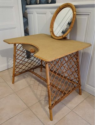 Mid Century Bamboo & Rattan Dressing Table, 1960s