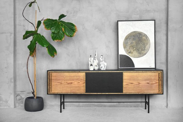 Mid Century Modern Scandinavian Ash Sideboard With Black Panel 1960s For Sale At Pamono