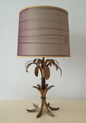 French Hollywood Regency Gold Metal Palm Tree Table Lamp 1950s