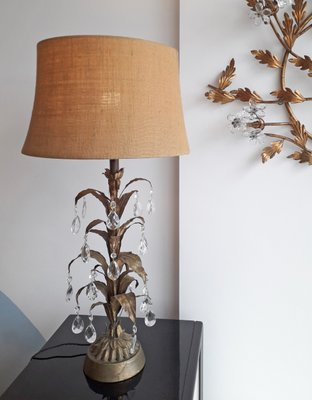 American Hollywood Regency Gold Metal Glass Palm Tree Table Lamp 1950s