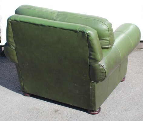 Wondrous Green Leather Tub Armchair 1960S Dailytribune Chair Design For Home Dailytribuneorg