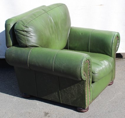 Remarkable Green Leather Tub Armchair 1960S Dailytribune Chair Design For Home Dailytribuneorg
