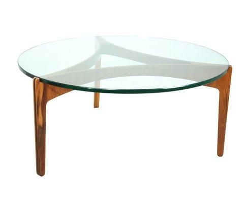 Round Mid Century Danish Rosewood Gl Coffee Table 1960s