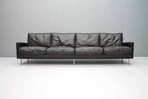 Large Vintage Black Leather 4-Seater Sofa, 1962