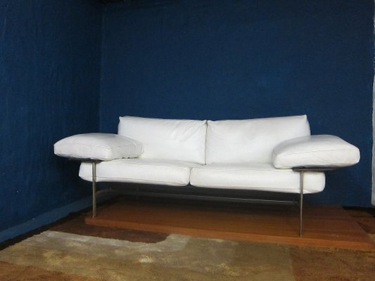 Weißes Vintage Ledersofa von Antonio Citterio & Paolo Nava für B & B Italia